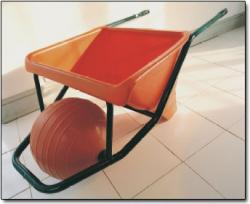 wheelbarrow with low pressure spherical wheel