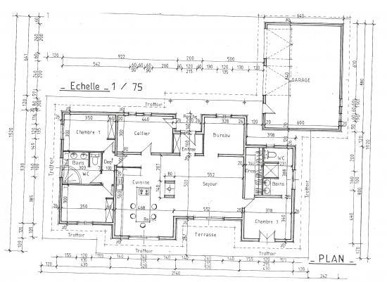 Esquisse for Plan maison ossature bois plain pied gratuit
