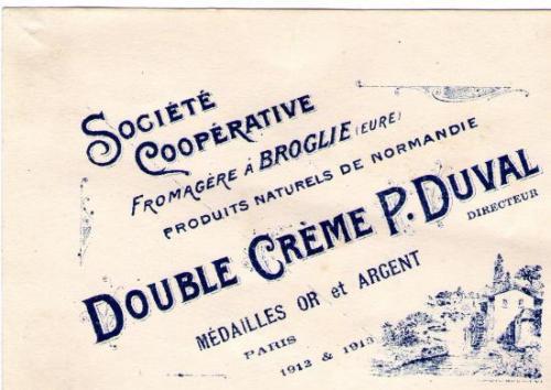 Carte de visite de P. Duval Epoque de la Laiterie