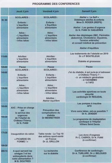 Picardie en forme : Programme des conférences