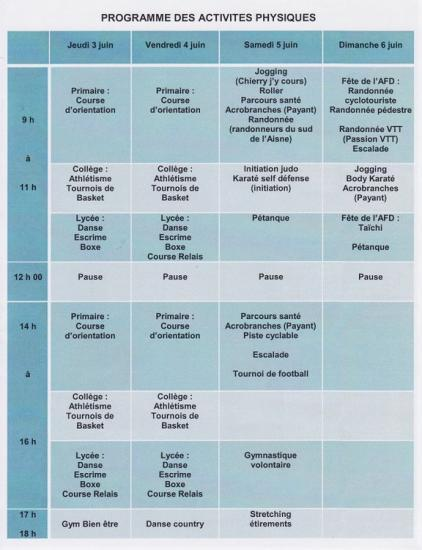 Picardie en forme : Progamme du 3 au 6 juin