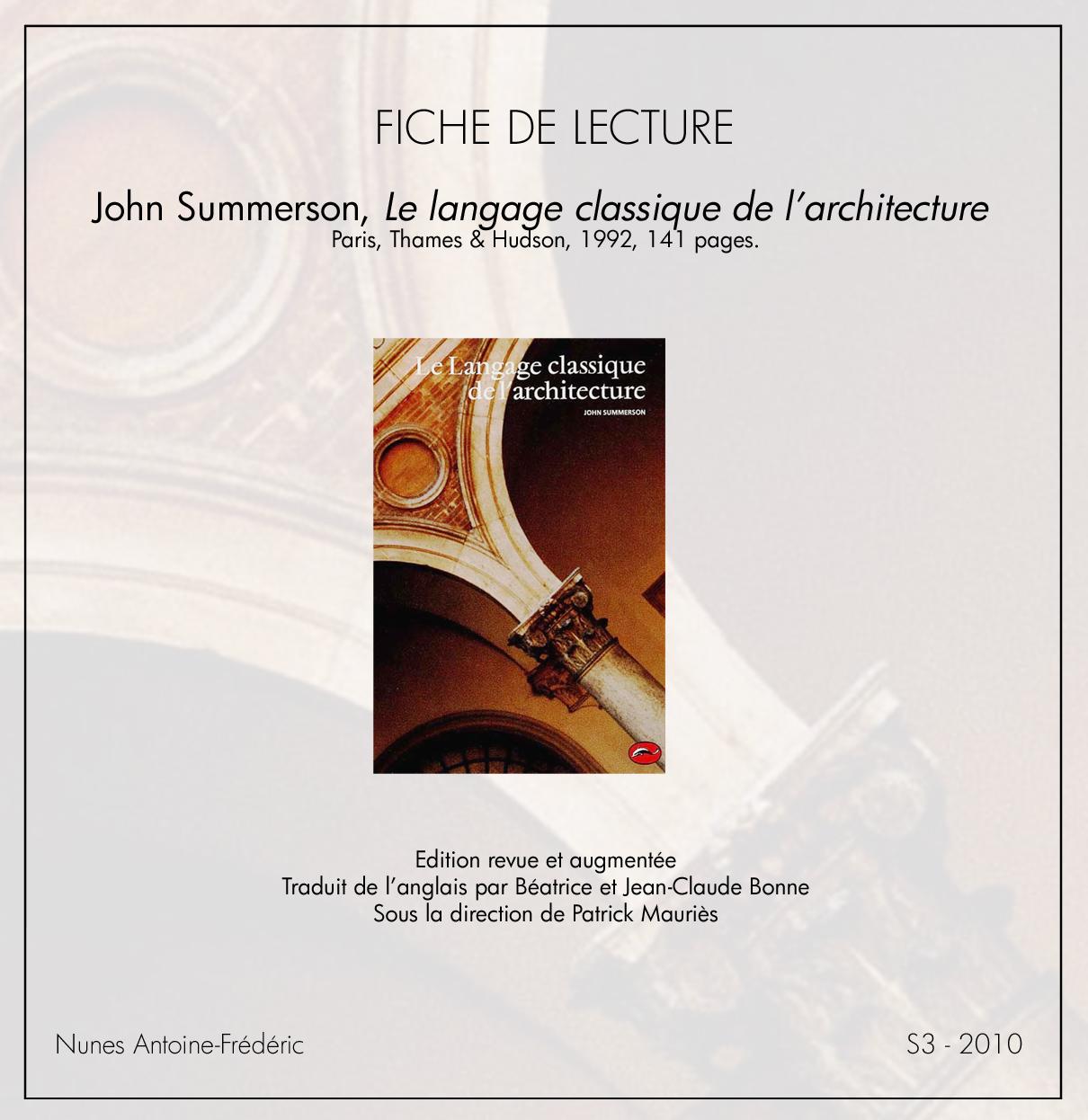 Le langage classique de l architecture / Fiche de lecture