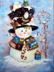Bonhomme de neige - panneau en médium 80 x 100 cm