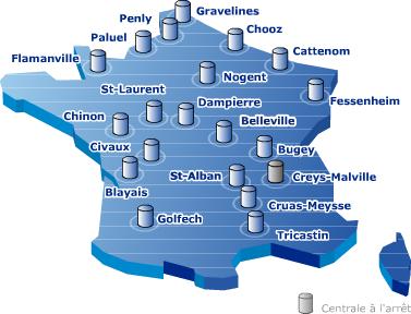 cartes des centrales electriques en France