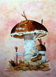 Champignon promeneur - plaque de médium 80  x 100 cm