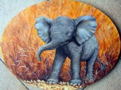Eléphanteau - acrylique sur toile