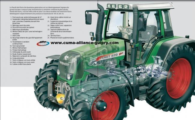coupe mécanique tracteur Fendt éclatée