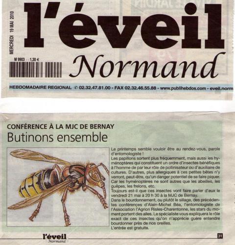 Article de l'Eveil Normand annonçant la conférence du 21 Mai 2010