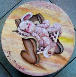 Boîte ronde - lapin endormi