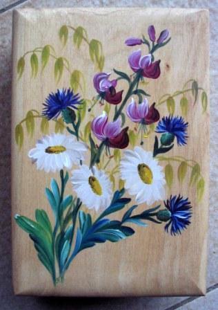 Boîte plate lys martagon Boîte à sucres , fleurs de montagne boîte ronde ,  peinture paysanne