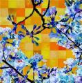 Hanami # 28 - 2009 - Acrylique sur papier marouflé sur toile 100 x 100 cm
