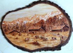 Paysage sépia - d'après carte postale