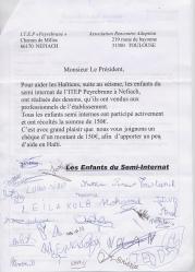 Lettres des enfants - ITEP