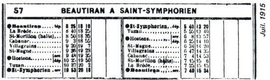 Horaires juillet 1915