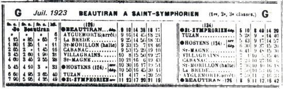 Horaires juillet 1923