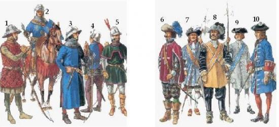Différents uniformes de la maréchaussée de 1536 à 1720