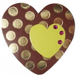 coeur en cuir couleur marron et vert décoré de strass et  dorure à chaud