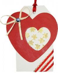 étiquette tag en cuir couleur blanc orné d'un coeur en cuir en cuir couleur rouge et dorure à chaud