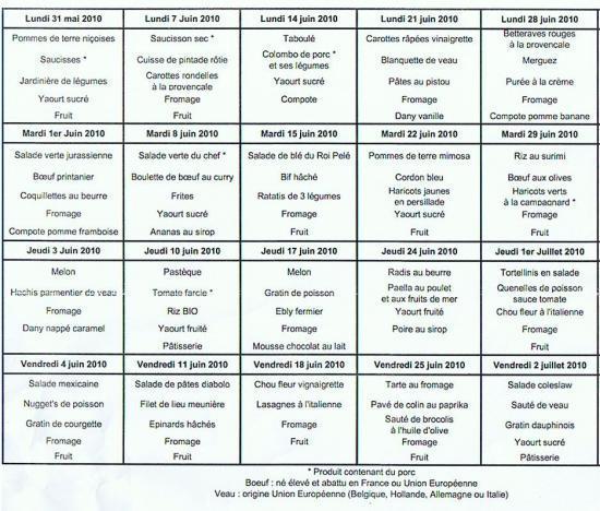 menu juin 2010